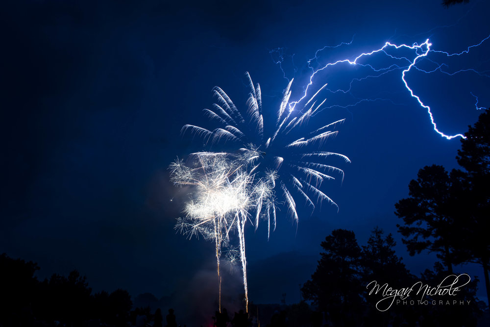 fireworks and lightning