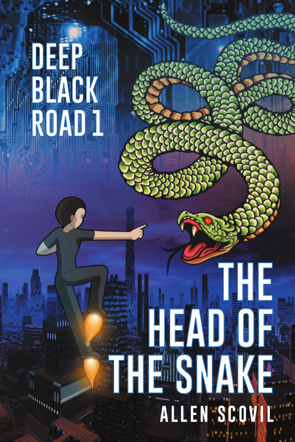 Deep Black Road 1: The Head of the Snake - (Formerly known simply as, Deep Black Road)It all started in 2079 with the three of them.First there was the general, who wasn't about to let something as trivial as a fatal illness interfere with his plan to take over the Federation of North America.Then there was the boy, who loved robotics and games, but was crushed by a robot run amok.And finally, the girl: being groomed by her wealthy and influential father for business success and political power, she was cut down in a freak car accident.But they didn't die.The general, getting his wish to be made robotic, toppled the provincial government of Foredan on his way to taking on the rest of the Federation.The boy's father, clinging to his last emotional connection with his late wife, put his son's soul into a memorial robot, which got tangled up in the general's machinations, and fell into the hands of the renegade Followers of the Anointed One.The girl, roboticized at her influential and wealthy father's expense, threw her lot in with the general's scheme in opposition to her father, intending to ride the general's coattails to the power she craved.None of them counted on the Prophet, hiding like a deadly snake in the grass, waiting for the right moment to strike; and when he did, they  found themselves together, on the run from the New Order.Can the boy, having been granted a 'great and terrible' destiny when he hovered between death and life, be able to find his way to it … on the Deep Black Road?