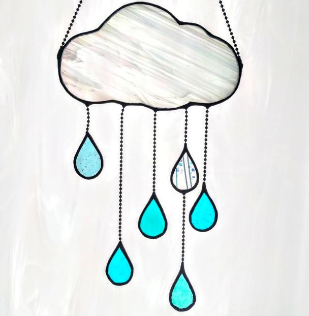 Handmade Stained Glass modern cloud rain