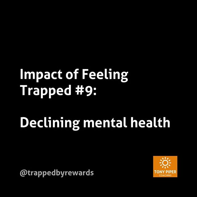 Certainly your mental health will begin to suffer if you're feeling trapped. New research into depression and anxiety is making a strong connection with feeling you don't have any options (i.e. are trapped).⠀ ⠀ #corporate #corporatelife #businessblog #corporateamerica #corporatewellness #corporatewellbeing #corporatewomen #corporatecoaching #stressmanagement⠀ #corporatesocialresponsibility #getunstuck #coaching #bonus #fulfillment #carpediem #yolo #rewards #trapped #trappedbyrewards