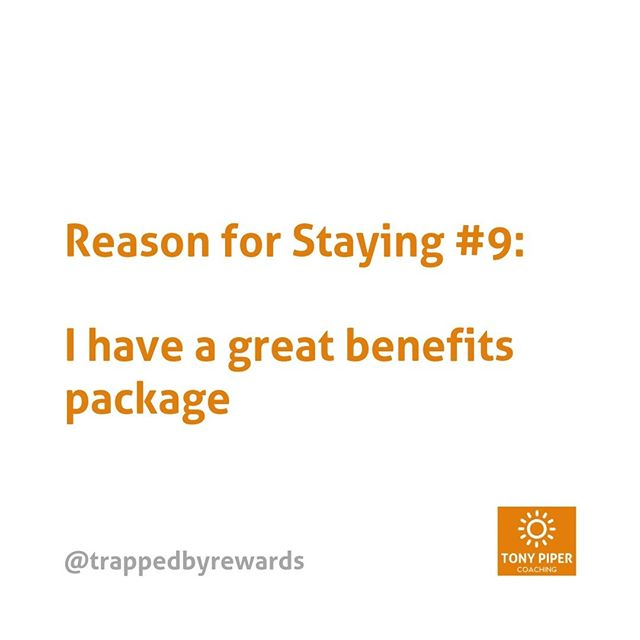 A great benefits package is a good reason to stay. Especially if it's healthcare, which you'll eventually need if you're feeling trapped.⠀ ⠀ #corporate #corporatelife #businessblog #corporateamerica #corporatewellness #corporatewellbeing #corporatewomen #corporatecoaching #stressmanagement⠀ #corporatesocialresponsibility #getunstuck #coaching #bonus #fulfillment #carpediem #yolo #rewards #trapped #trappedbyrewards