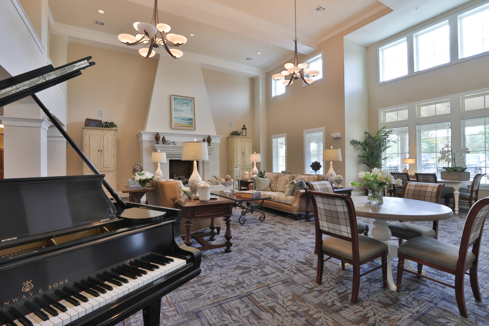 Baby Grand Piano in Community Living Room