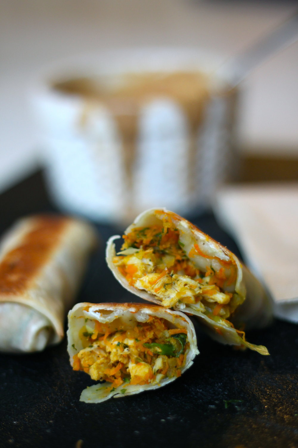 Chicken Spring Rolls with Crunchy Almond Butter Dipping Sauce from The Diva Dish