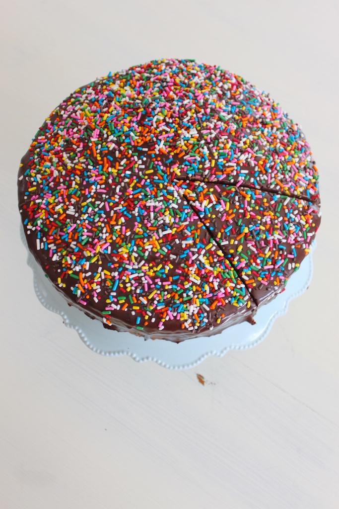 Chocolate Ganache Birthday Cake via The Diva Dish