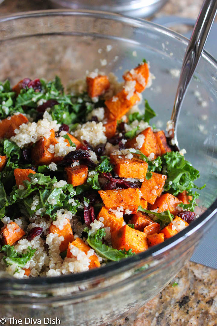 Kale & Quinoa Harvest Salad via The Diva Dish