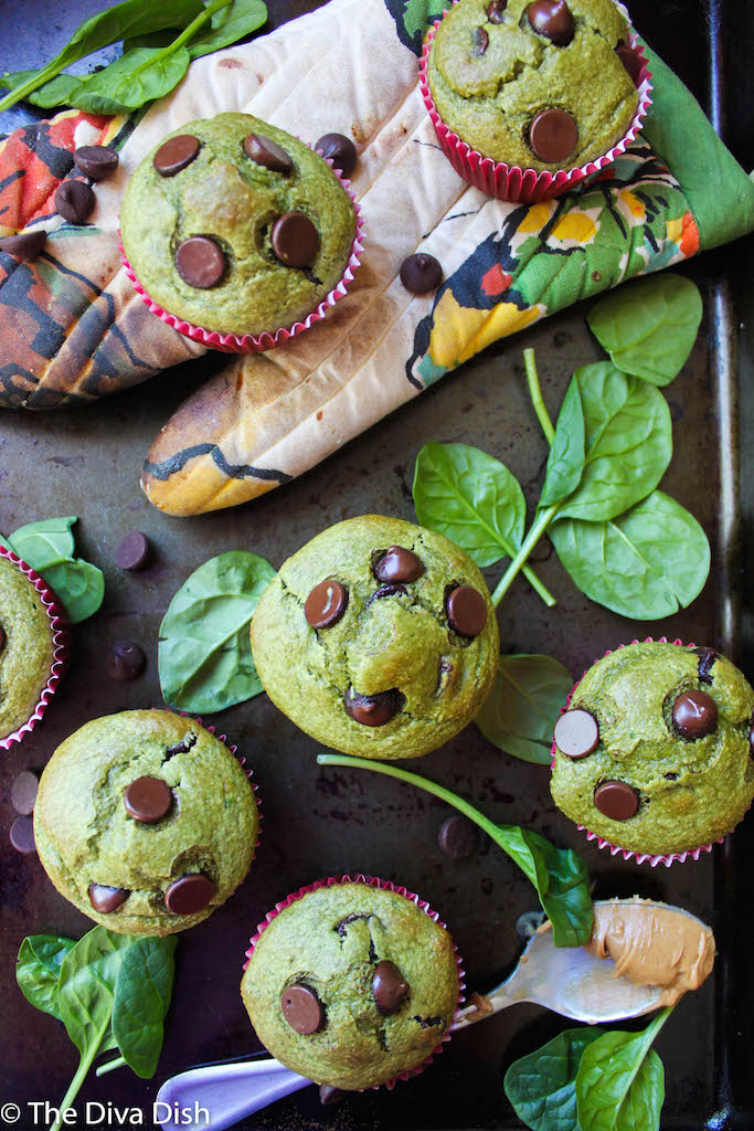 Green Peanut Butter Banana Muffins! KID approved! From The Diva Dish