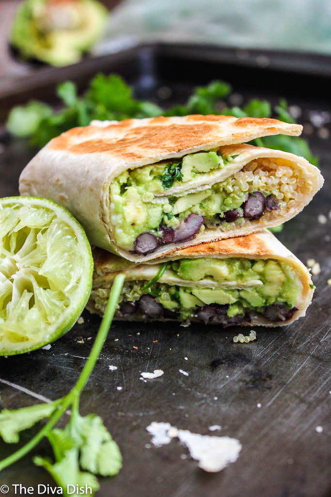Guacamole Black Bean Burritos via The Diva Dish