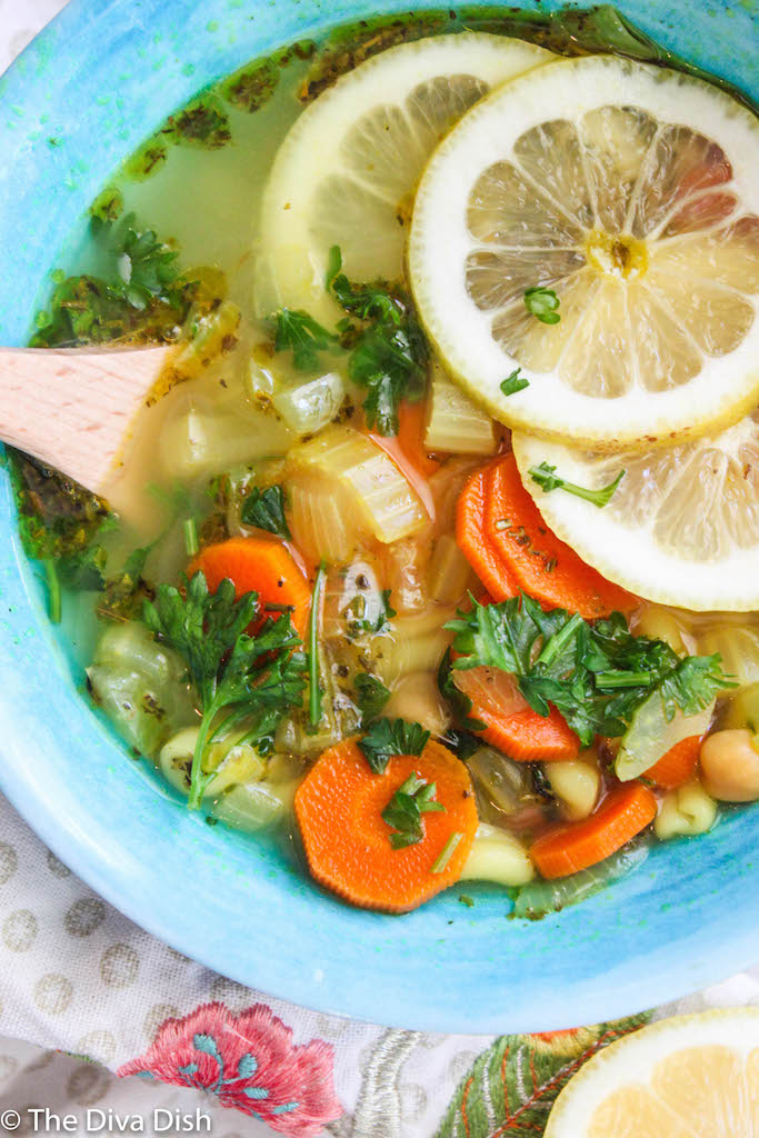 Lemon Chickpea Noodle Soup via The Diva Dish