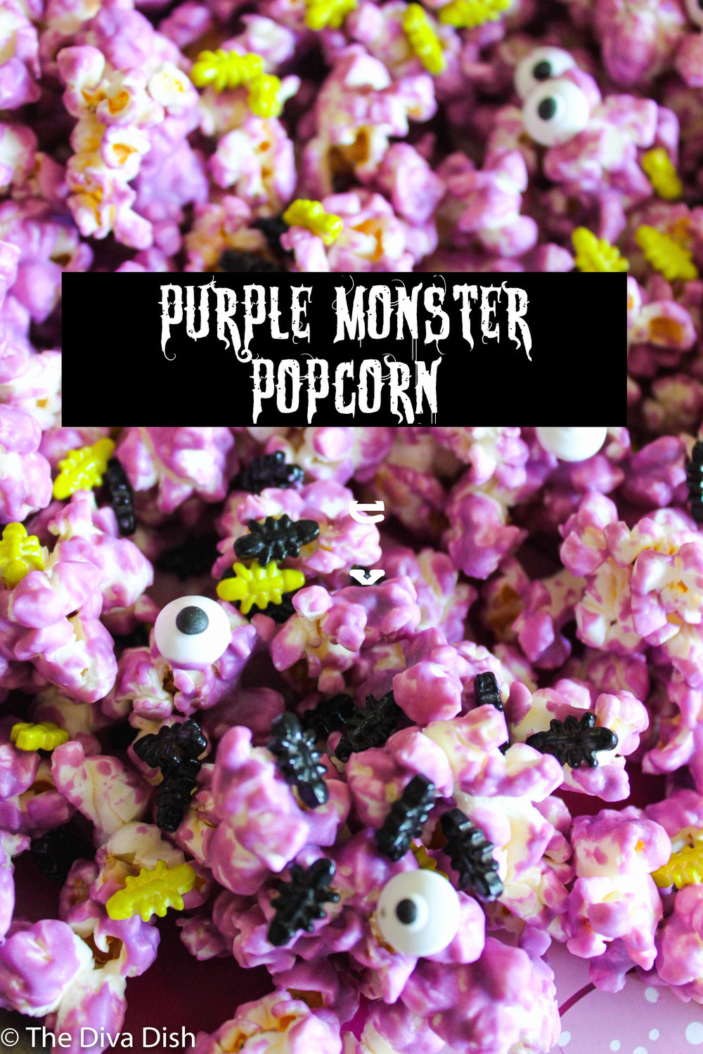 Purple Monster Popcorn, Happy Edition via The Diva Dish