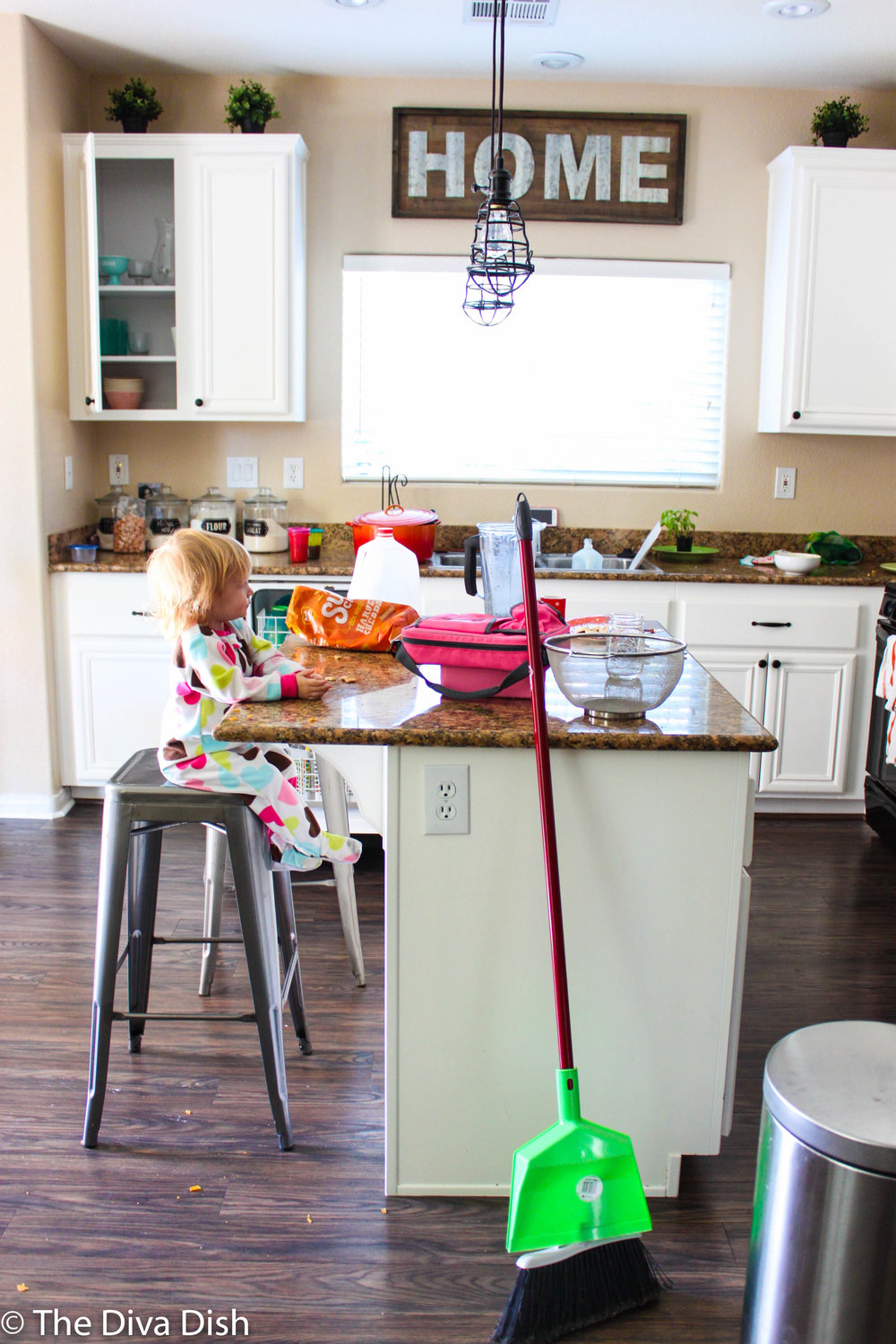 cute baby messy kitchen