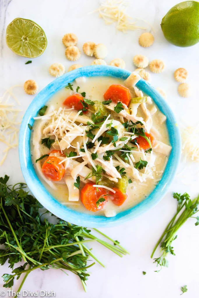 Lightened Up Creamy Lime Chicken Noodle Soup