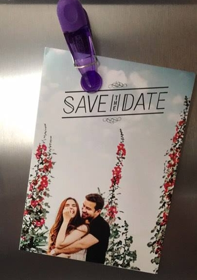 Our save the date on my friend Alex's Fridge!