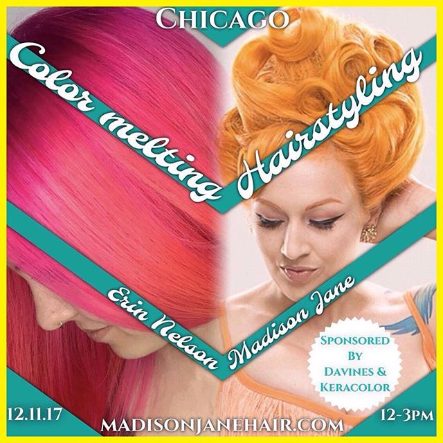 "Chicago stylists your in for a treat! December 11th @Madisonjanehair and @Erin_nelson_doh are teaming up to deliver an awesome hair experience to you, get your tickets now! . . RepostBy @madisonjanehair: ""Do I know anyone in Chicago? Just found out we're being sponsored by @davinesofficial and @keracolorhair who are providing goodies for everyone that purchases a ticket! This class is going to be so fun, you don't want to miss out. @erin_nelson_doh color skills are so dope 💖 Tickets available at madisonjanehair.com"