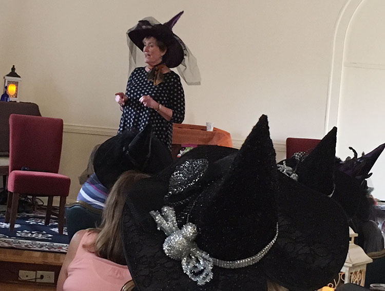 "- ""Margaret enticed many cackles from a room full of 100 'witches' during our annual Witches Tea Party."" – Heather Young, THE CENTER at Palos Hills"