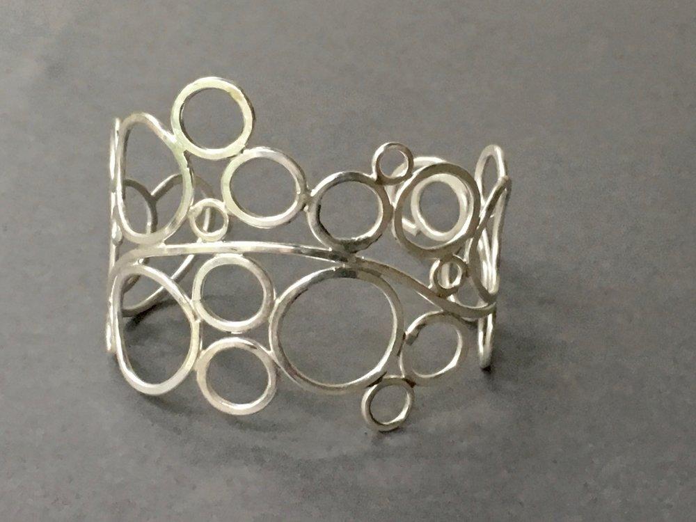 Cuff - Bubbles  cuff in fine silver.jpg