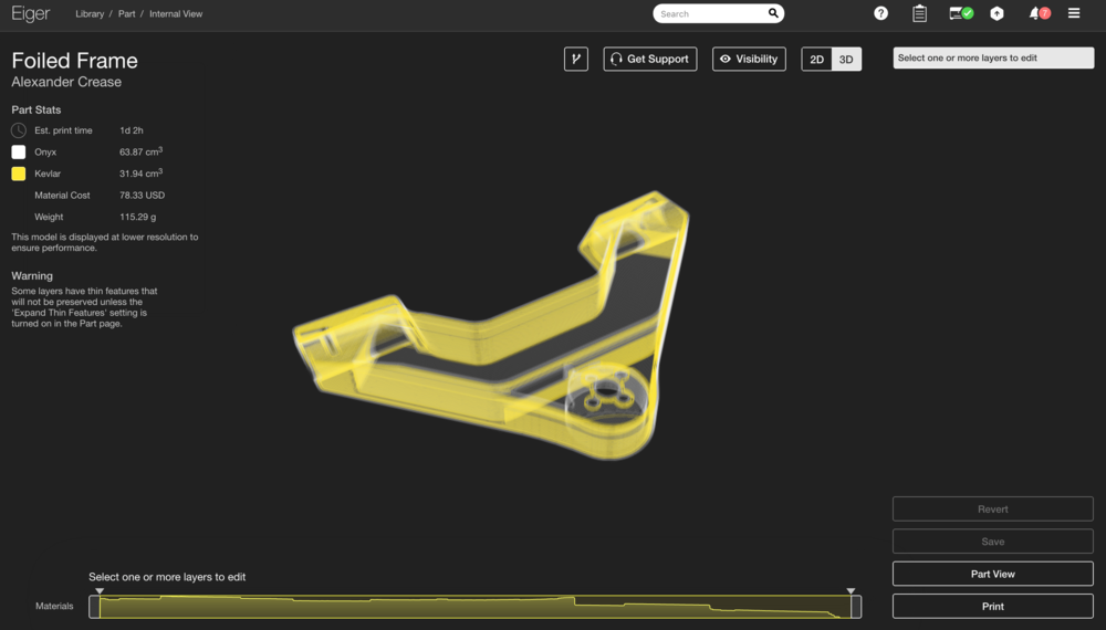 The 3D Internal view of Foiled, showing the continuous Kevlar routing paths in yellow.