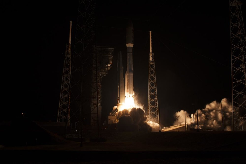 The NOAA Geostationary Operational Environmental Satellite liftoff.