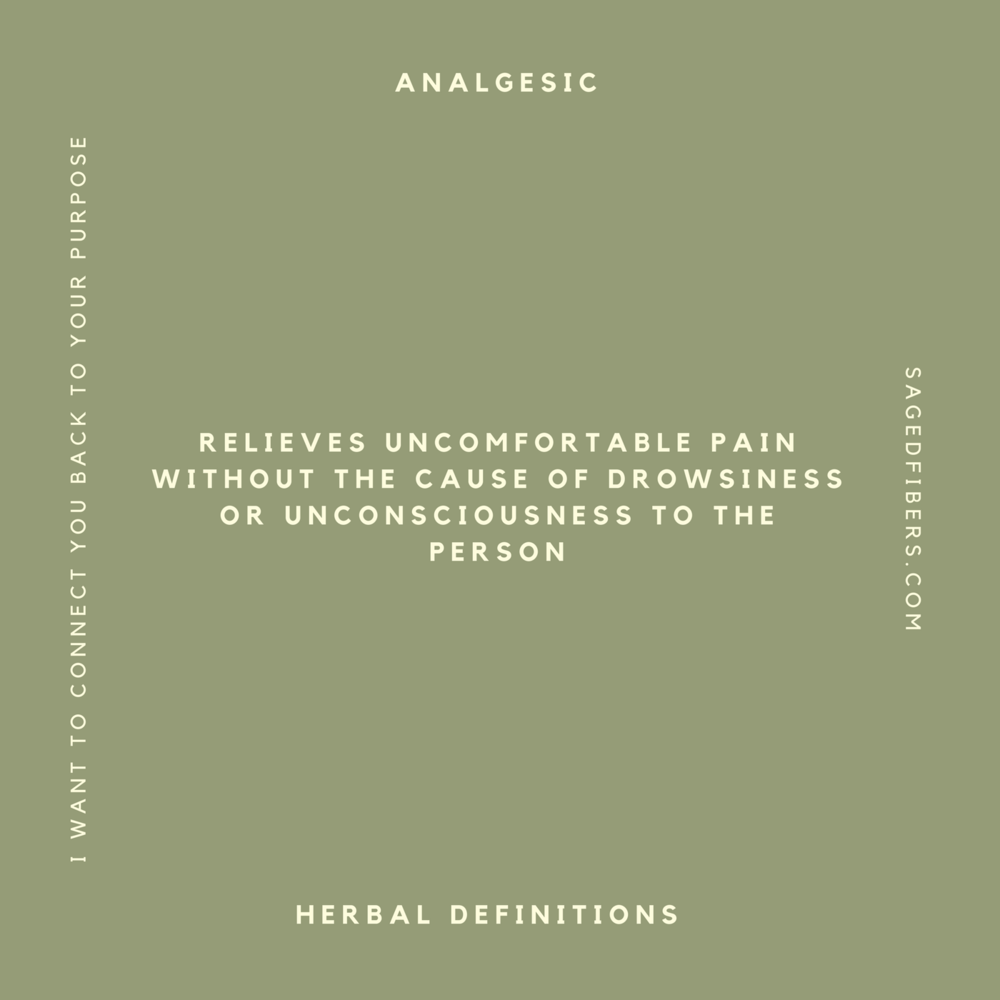 analgesic   Relieves uncomfortable pain without the cause of drowsiness or unconsciousness to the person.