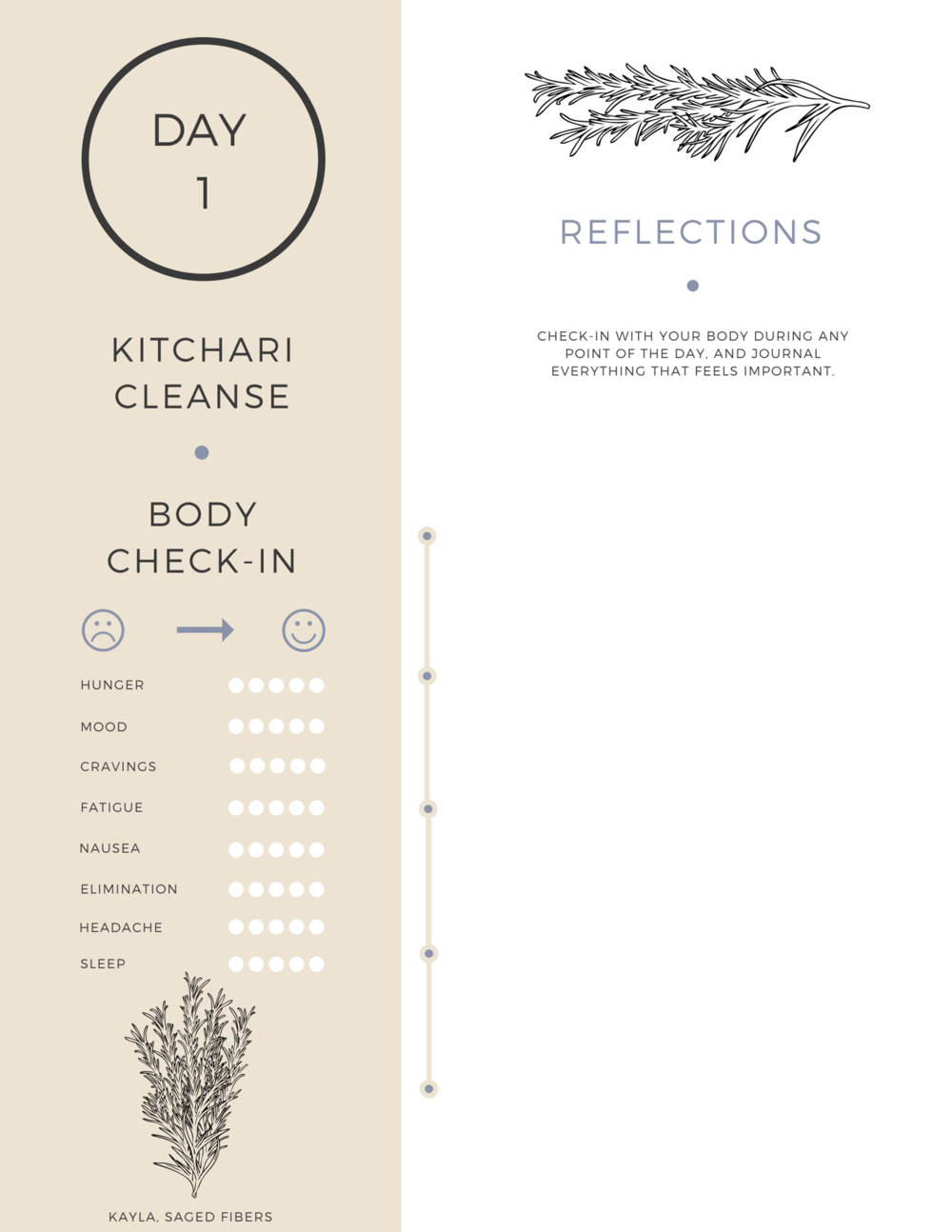 Kitchari Cleanse: Day One, Worksheet