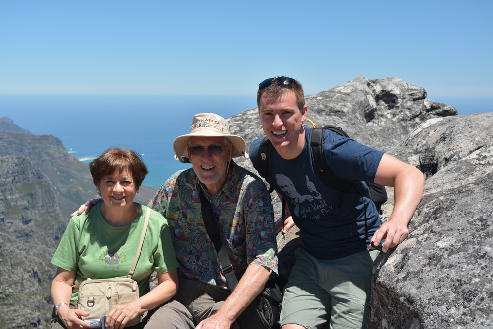 Atop table mountain with parents during their visit to Cape Town.  Cape Town, South Africa - 2013