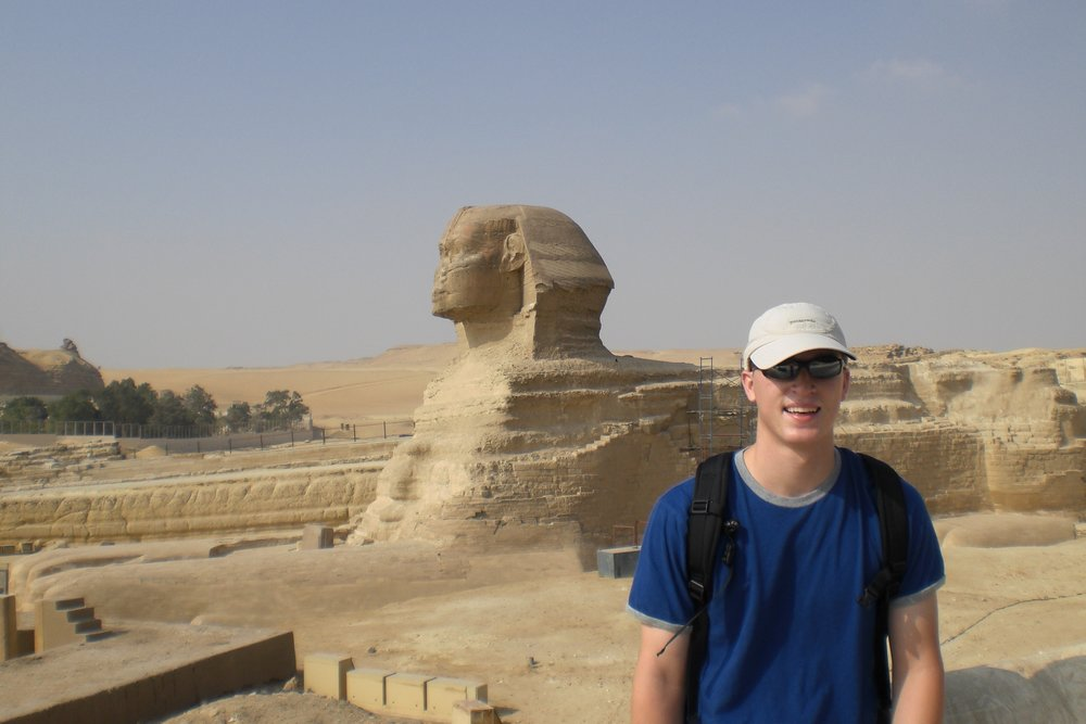 Exploring the sphinx in the blazing Egyptian heat on a stopover on the way to India.  Cairo, Egypt - 2008