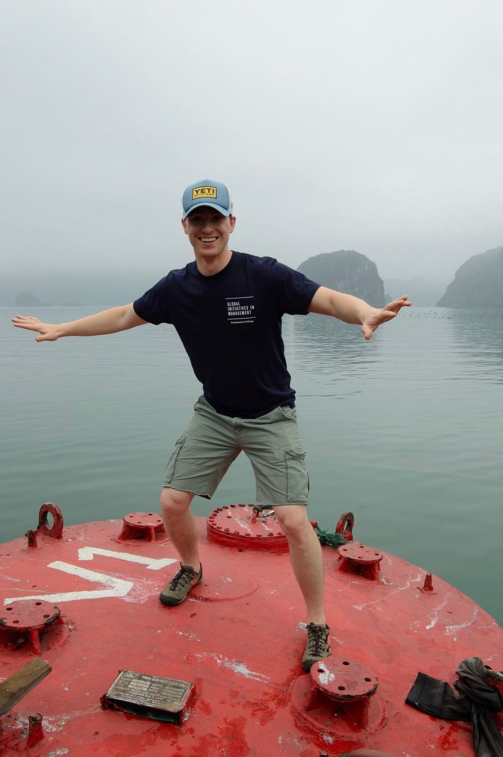 Decided to jump on a large buoy while on a boat cruise in Ha Long Bay.  Ha Long Bay, Vietnam - 2017