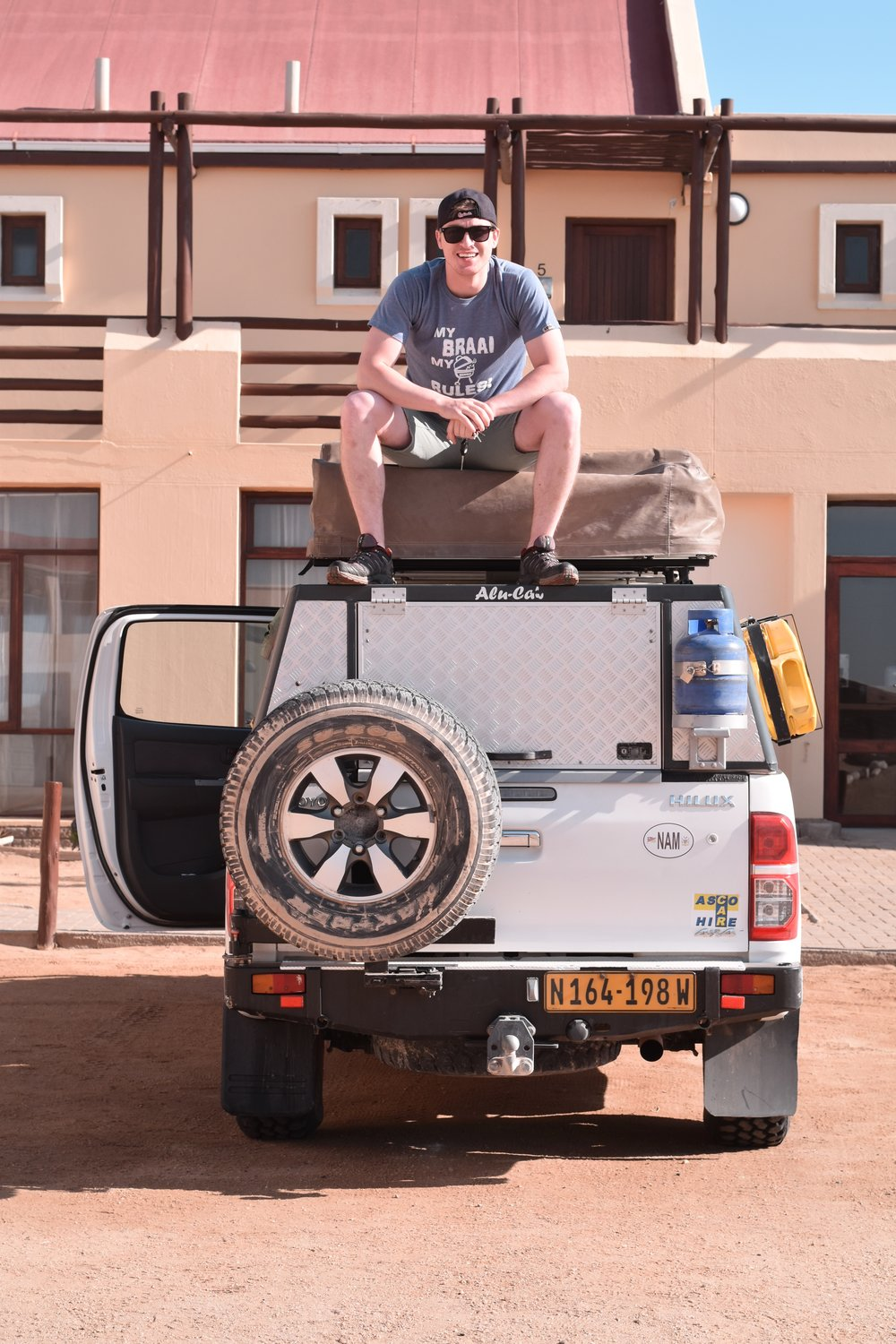 Taking a break from unloading the truck after a long day of driving up the Skeleton Coast.  Cape Cross, Namibia - 2016
