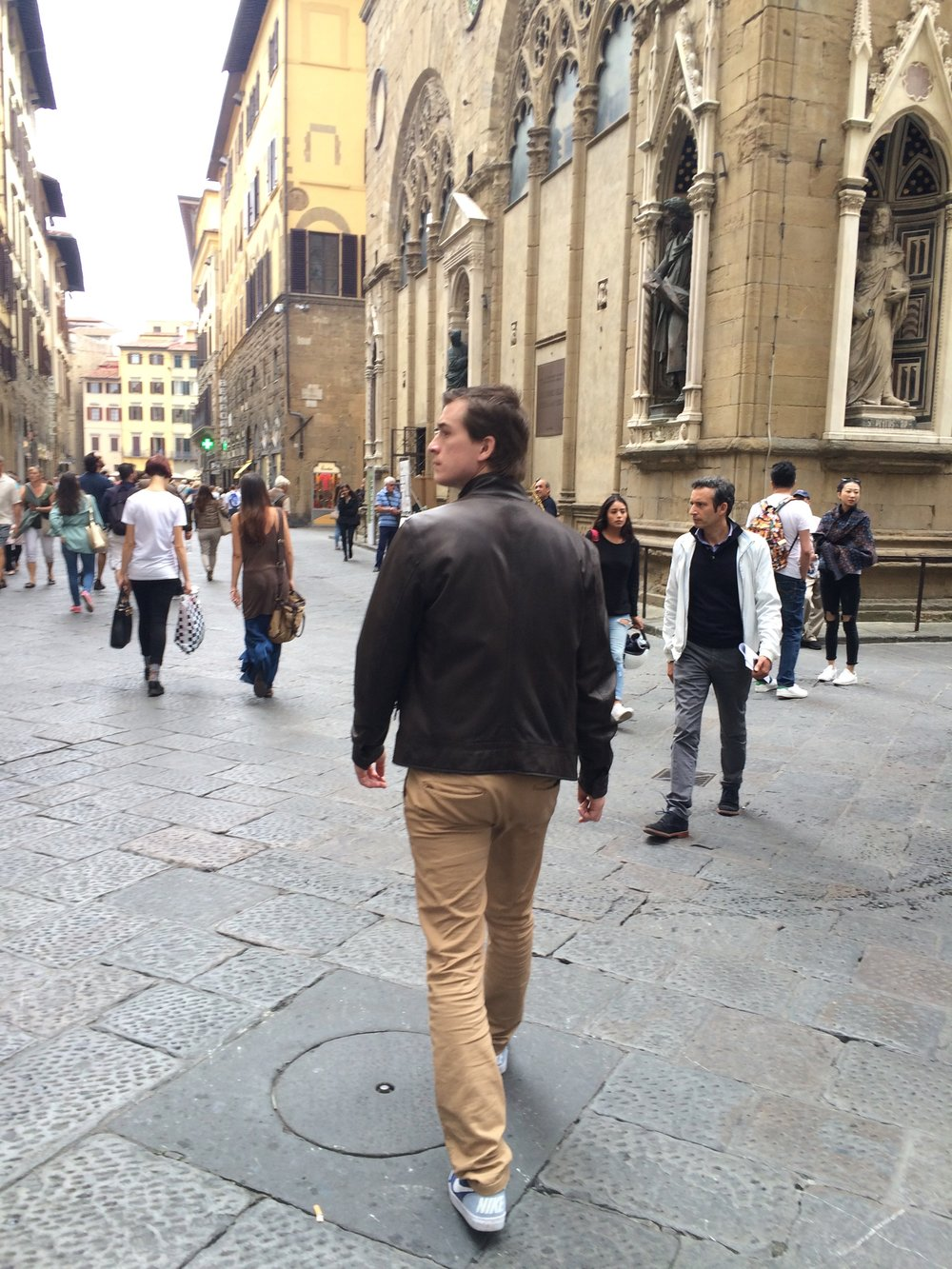 My awful attempt at being fashionable after purchasing a leather jacket.  Florence, Italy - 2015