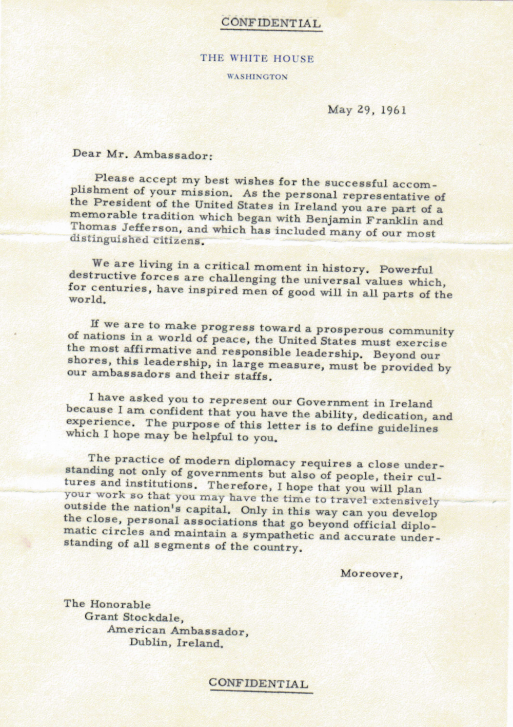 Confidential Letter From President Kennedy Grant Stockdale Archives