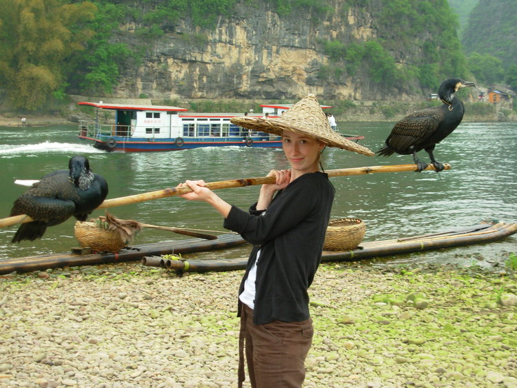 Because this is hilarious.... Balancing cormorants by riverside in Guilin, China 2007.