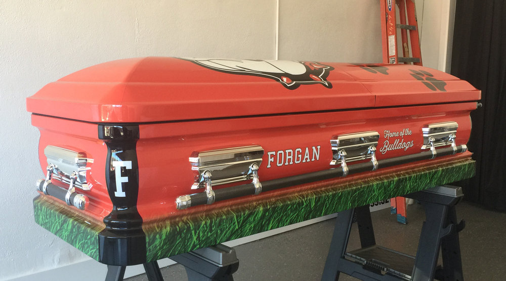 Forgan Bulldogs Wrap on 18 Gauge Urn Style Casket.