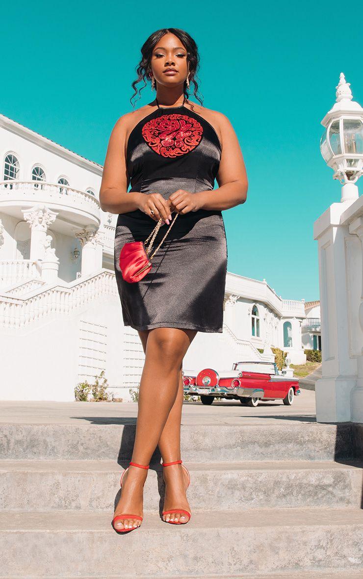 PLUS BLACK SATIN SEQUIN ORIENTAL BODYCON DRESS .jpg