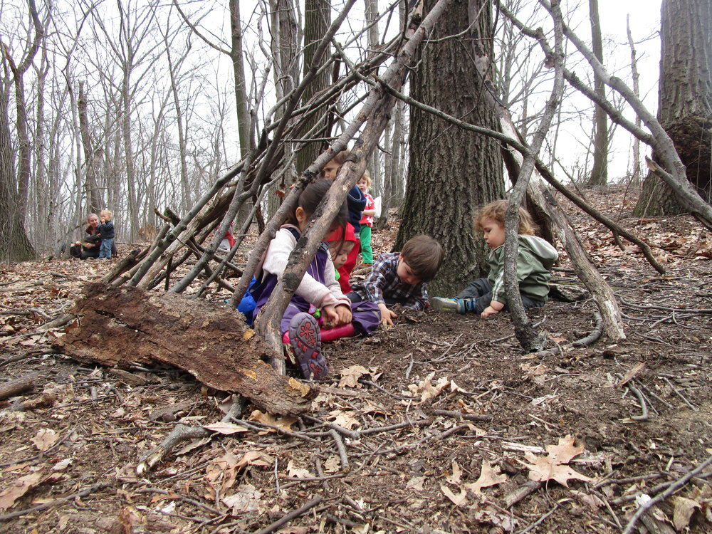 Kids create team work and build amazing shelters