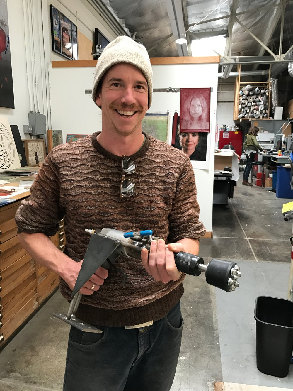 Mikael Kirkman with pneumatic stamper