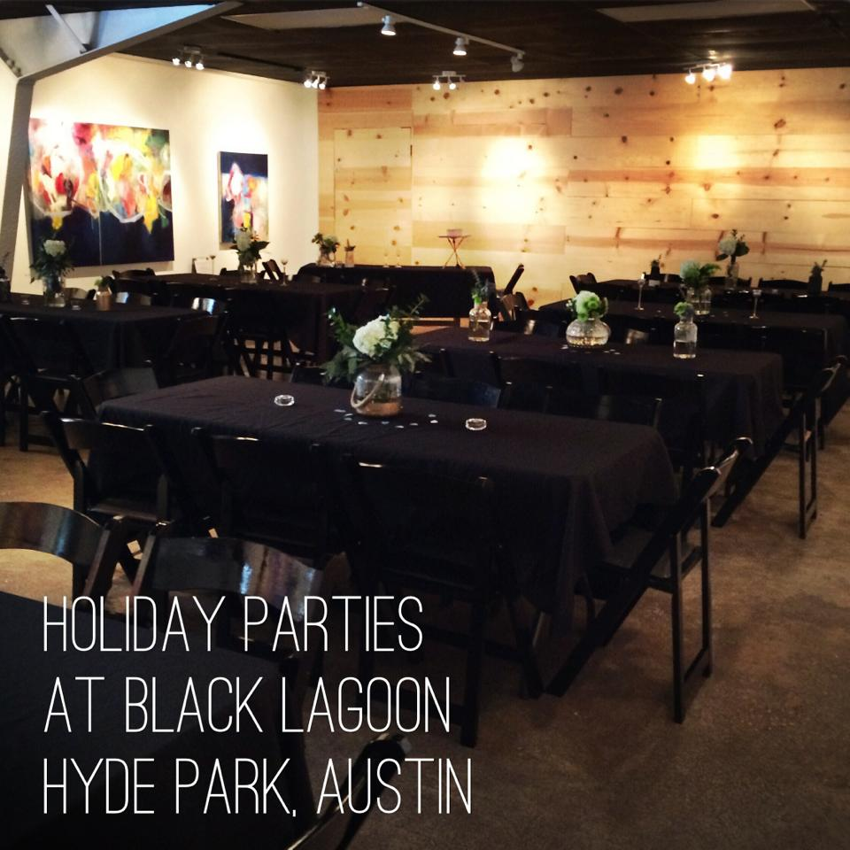 Black Lagoon is an Art Gallery & Event Space with monthly art exhibits that add a cool artistic element to any private event.