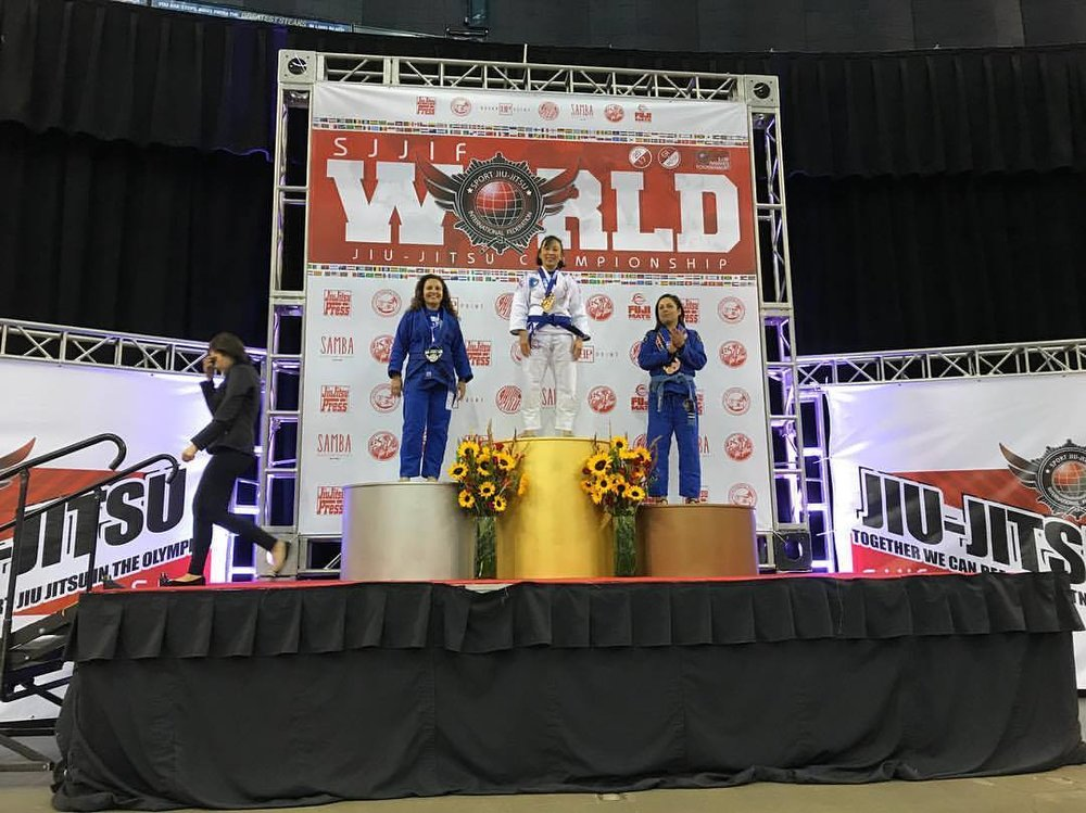 Pacific Top Team Jiu Jitsu Corona student Gina Zika taking Gold at the 2017 SJJIF Worlds Tournament.