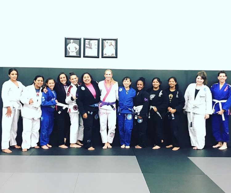 Coach Kim teaching the Woman's Only BJJ Program in Corona