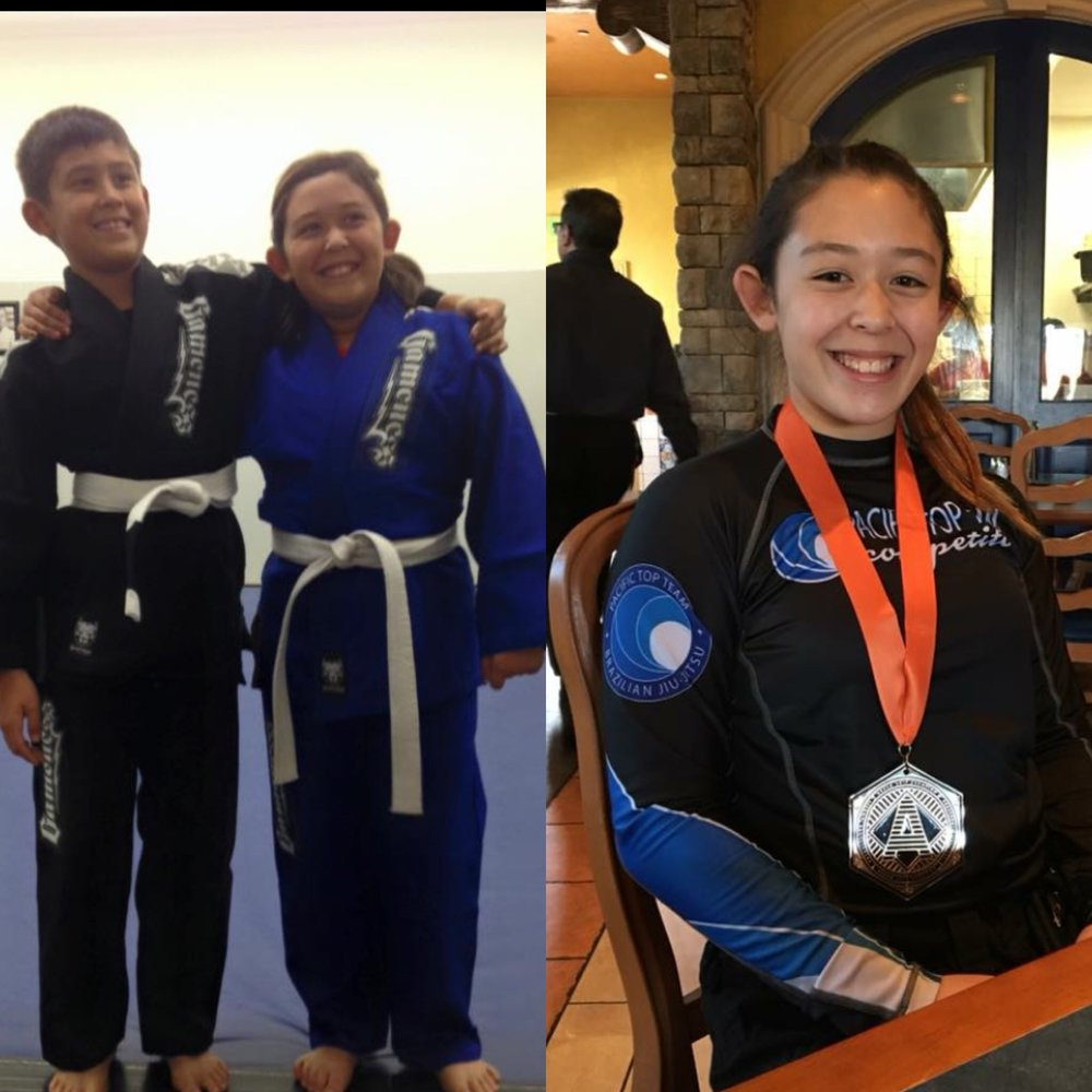 Left :Sophia and her brother Russel when they started Jiu Jitsu;  Right :Sophia after her recent Win at Dream Jiu Jitsu Tournament.