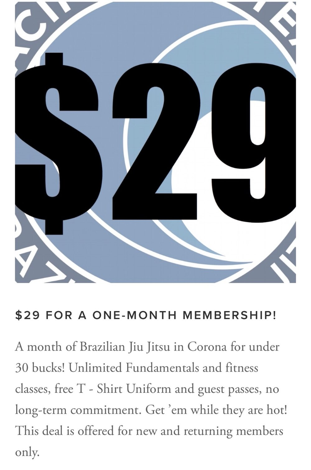 Check out all the deals on Membership at  https://www.jiujitsucorona.com/deals
