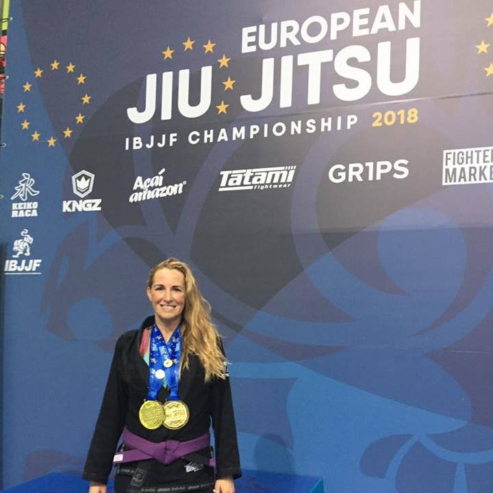 Kimberly Pruyssers - Kimberly Pruyssers: #1Ranked Female Master1 Purple Belt by the IBJJF.  Kim is a single mom of 4 working full time who joined is has been a part of a our Competition program since 2015.  Through training in our Competition Program, Kim now is a 2x European Purple Belt Champion 2018, World Champion in the SJJIF weight and Absolute, Jiu Jitsu World League Champion weight and Absolute, IBJJF Panamerican Silver Medalist to name a few. She earn her Purple in less than 3 years and has become the Women Only Jiu Jitsu Program's Head Coach at Pacific Top Team Corona.