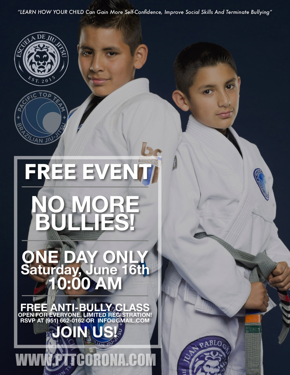 FREE Kids' Self-Defense + Anti-Bully Class at PTT Brazilian Jiu Jitsu
