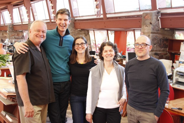 L to R: Ted Decker (Director/Curator, phICA); Jason Silverman (Residence Life Manager, Taliesin West); Saskia Jorda (visual artist, TARP director, Taliesin West); Elisabeth Heindl (TARP Artist, Germany); and Santiago Borja (TARP Artist, Mexico)  Photo credit: Sulu Silva