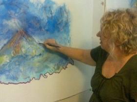 Sue working on a new painting for her first international solo exhibition.