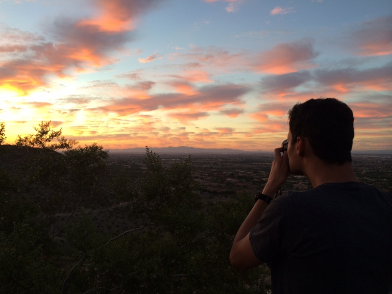 Wanderson photographing the desert sunset at South Mountain Park, Phoenix  10-19-14