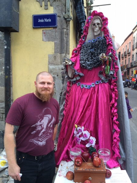 CORY PHOTO WITH SANTA MUERTE, MEXICO CITY, 2-14