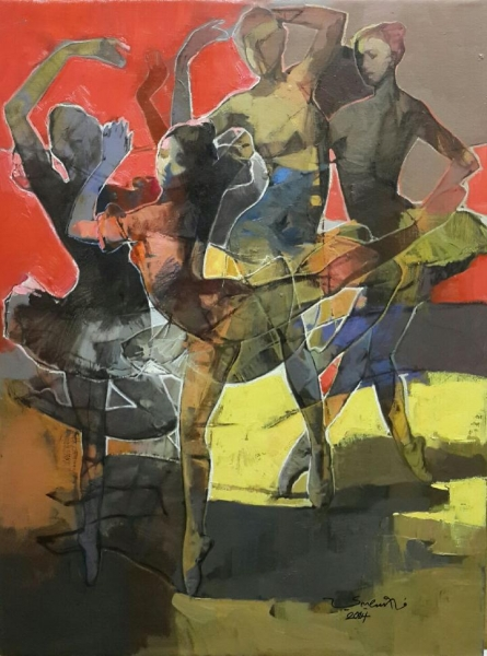 Ballet Dancers , 2014 Oil on canvas 31 x 23 inches