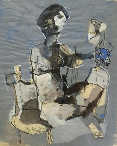 Reluctant Lyre , 2012 Acrylic on paper 17 x 13 inches
