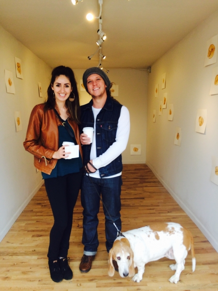 Phoenix-based visual artists Lexie Bowers and Bill LeGuillon enjoying Andrea's exhibit, 1-31-15.