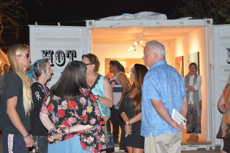 First Friday crowd, 4-3-15. Photo credit - Falah Alsaidi.