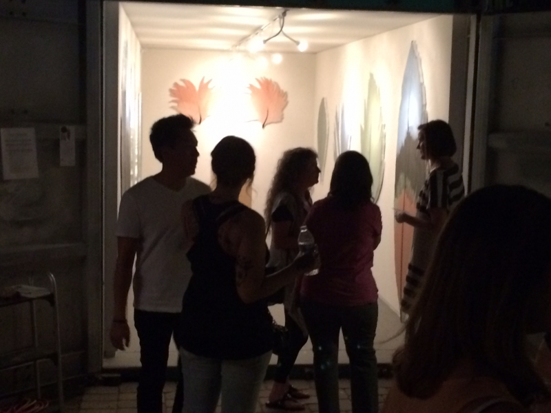 People viewing Lauren's work, First Friday, 5-1-15
